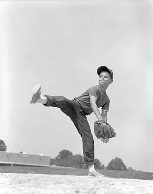 1960s Boy Wearing Baseball Cap Tee Art Print