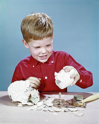 Piggy Bank Wall Art - Photograph - 1960s Boy Wearing Red Shirt Breaking by Vintage Images
