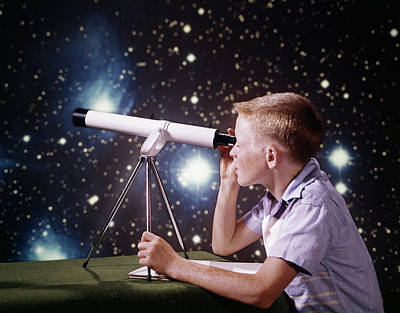 Observer Photograph - 1960s Boy With Telescope On Table by Vintage Images