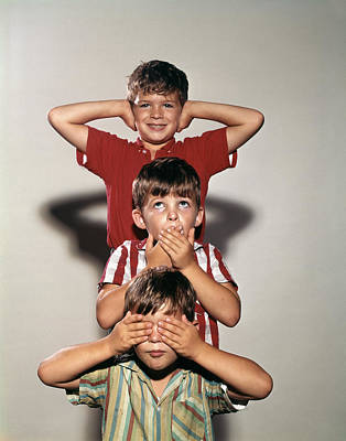 See No Evil Photograph - 1960s Boys Posing As Three Wise Monkeys by Vintage Images