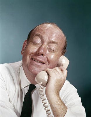 Euphoria Photograph - 1960s Business Man Eyes Closed Funny by Vintage Images