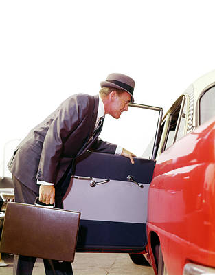 Checker Cab Photograph - 1960s Businessman Man With Briefcase by Vintage Images