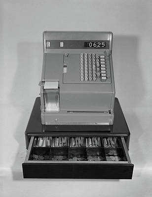 Cash Register Photograph - 1960s Cash Register With Money by Vintage Images