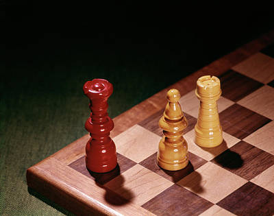 Checkmate Photograph - 1960s Chess Pieces Checkmate Board Game by Vintage Images