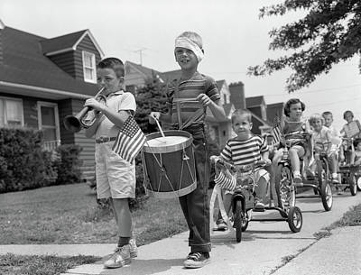 1960s Children In Fourth Of July Parade Art Print