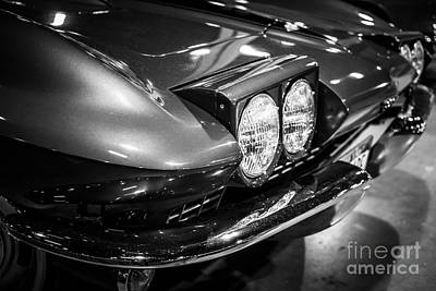 Sportscar Photograph - 1960's Corvette In Black And White by Paul Velgos