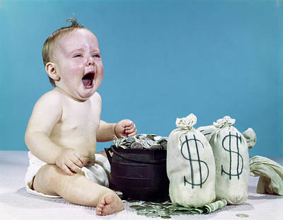 Inheritance Photograph - 1960s Crying Shouting Baby With Money by Vintage Images