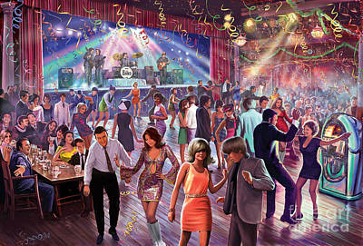 Dance Floor Digital Art - 1960's Dance Scene by Steve Crisp