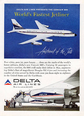 Photograph - 1960s Delta Convair 880 Ad by John King