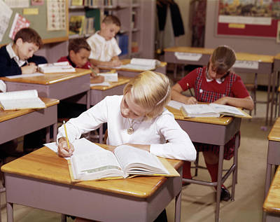 Schoolrooms Photograph - 1960s Elementary School Children by Vintage Images
