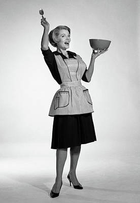 Mixing Bowls Photograph - 1960s Excited Woman Housewife In Apron by Vintage Images