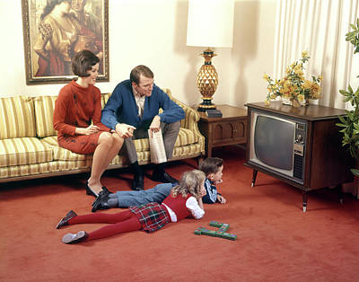 1960s Family In Living Room Watching Tv Art Print