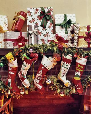 1960s Five Christmas Stockings Hanging Art Print