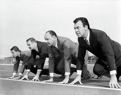 1960s Four Businessmen On The Starting Art Print