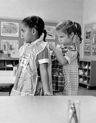 Schoolroom Photograph - 1960s Grade School Girl In Classroom by Vintage Images