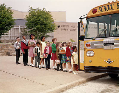 School Bus Photograph - 1960s Group Of Kids In Line Getting by Vintage Images