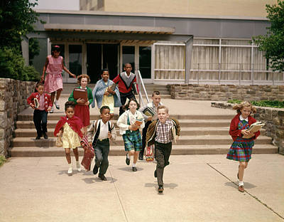 Integrated Photograph - 1960s Group Of School Children Running by Vintage Images