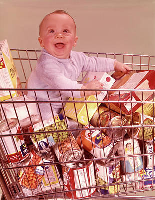 Canned Goods Photograph - 1960s Happy Baby Sitting by Vintage Images