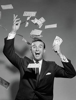 1960s Happy Man Throwing Money Currency Art Print