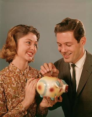 1960s Happy Smiling Couple Putting Art Print