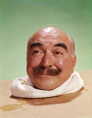 Sweating Photograph - 1960s Head Of Smiling Bald Man by Vintage Images