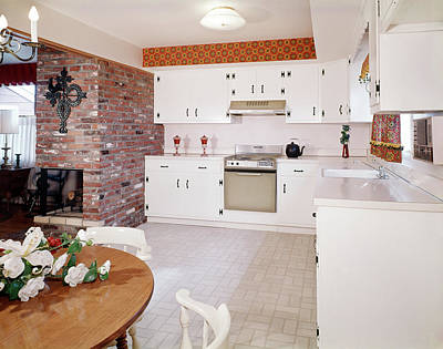 1960s Kitchen Interior With Brick Wall Art Print