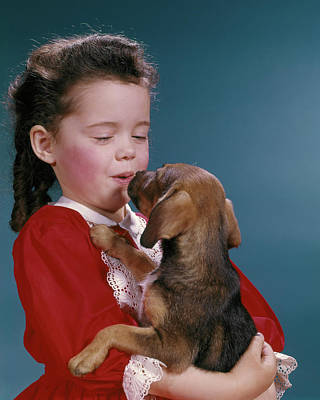 Beagle Photograph - 1960s Little Girl Kissing Her Beagle by Vintage Images
