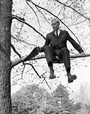 1960s Man In Tree Branch Limb Art Print