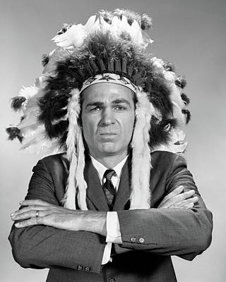 Native American Symbols Photograph - 1960s Man Wearing Native American by Vintage Images
