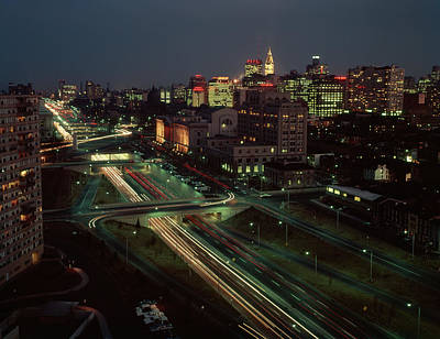 Philadelphia Skyline Photograph - 1960s Night View Vine Street Expressway by Vintage Images