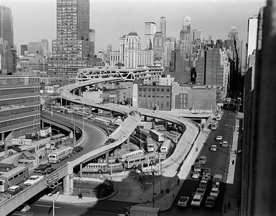 Old Bus Stations Photograph - 1960s Overhead Of Port Authority by Vintage Images