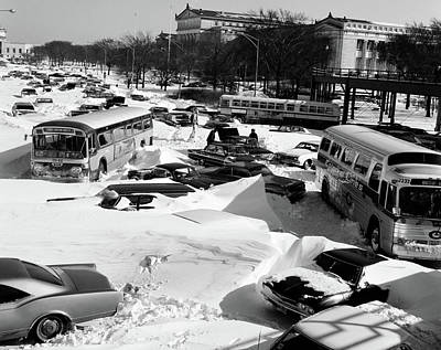 Drifting Snow Photograph - 1960s Overhead View Of Cars And Buses by Vintage Images