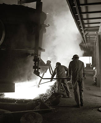 Crucibles Photograph - 1960s Pair Of Steel Workers Wearing by Vintage Images