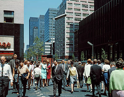 Third-oldest Photograph - 1960s Pedestrians Crossing New York by Vintage Images