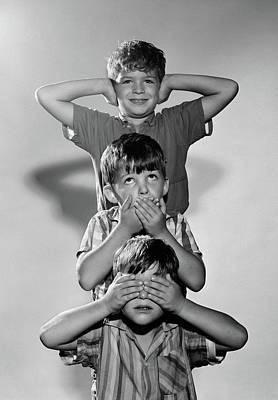 See No Evil Photograph - 1960s Portrait Of 3 Boys Miming Hear by Vintage Images