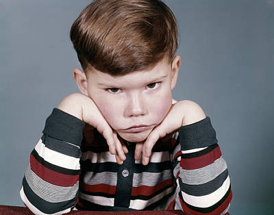 Puss Photograph - 1960s Portrait Sad Angry Little Boy by Vintage Images