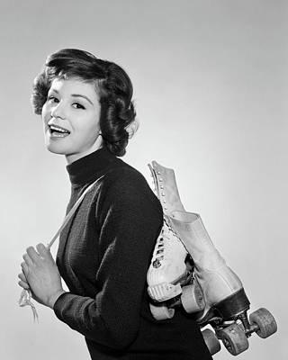 Self Shot Photograph - 1960s Profile Of Smiling Brunette by Vintage Images