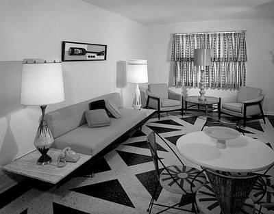 Linoleum Photograph - 1960s Recreation Room Interior by Vintage Images