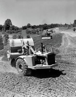 Machinery Photograph - 1960s Series Of 3 Tractors Plowing & by Vintage Images