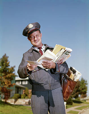 Old Post Office Photograph - 1960s Smiling Mailman Hodling Letters by Vintage Images
