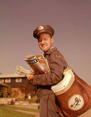 Mailman Photograph - 1960s Smiling Mailman Holding Mail by Vintage Images
