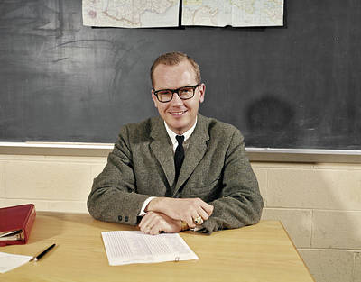 Educator Photograph - 1960s Smiling Male School Teacher by Vintage Images