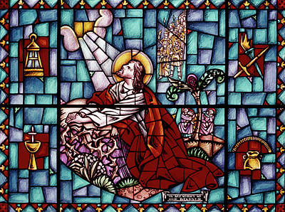 1960s Stained Glass Of Jesus Kneeling Art Print
