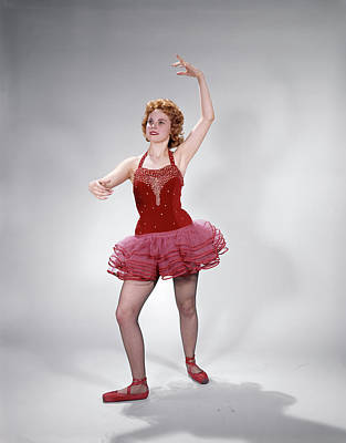 Child Ballerina Photograph - 1960s Teen Girl Red Velvet & Pink Net by Vintage Images