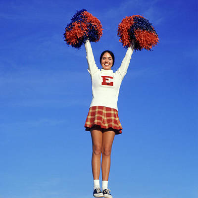 College Girls Wall Art - Photograph - 1960s Teenage Girl Cheerleader Full by Vintage Images