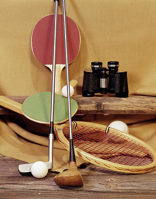Ping Pong Wall Art - Photograph - 1960s Tennis Racket Racquet Table by Vintage Images