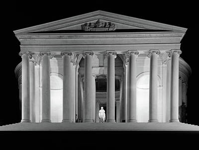 Jefferson Memorial Photograph - 1960s Thomas Jefferson Memorial Lit by Vintage Images