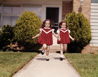 1960s Twin Girls Wearing Identical Red Art Print
