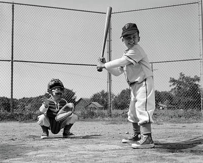 Sneaker Photograph - 1960s Two Boys Playing Baseball Batter by Vintage Images