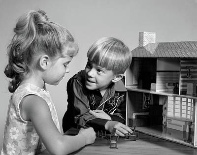 Doll House Photograph - 1960s Two Kids Playing With Toy Doll by Vintage Images